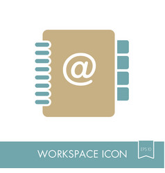 address book outline icon workspace sign vector image vector image