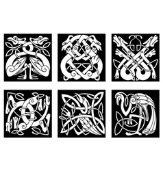 Birds and animals in celtic ornament vector image vector image