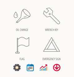 Flag pointer emergency sign and wrench key vector