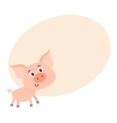 Funny little smiling pig with swirling tail vector