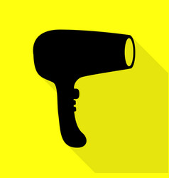 hair dryer sign black icon with flat style shadow vector image