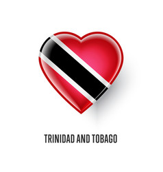 heart symbol with trinidad and tobago flag vector image vector image