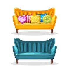 Sofa soft colorful homemade set 5 vector
