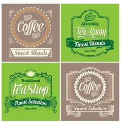 Vintage coffee and tea label design set vector image vector image