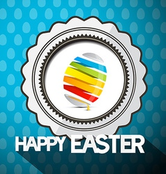 Blue Happy Easter with Abstract Colorful Egg vector image vector image