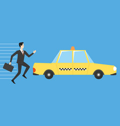 businessman running for taxi vector image vector image