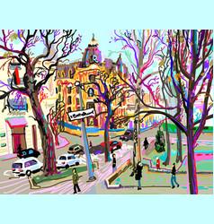 digital plein air painting of kiev street vector image vector image