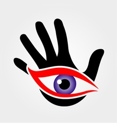 Eye emerging from a palm vector image vector image