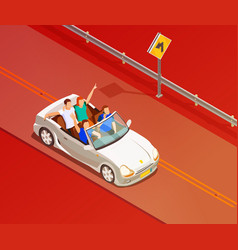 Friends riding luxury car isometric poster vector