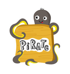 pirate isolated icon with octopus vector image