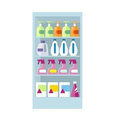 Shelves with household chemicals vector