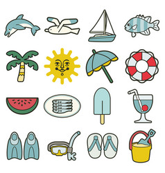 Summer sea vacation icons vector