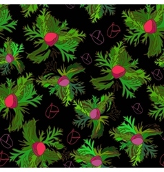 Vivid seamless pattern with bud anemone on black vector image vector image