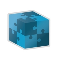 cube in puzzle piece icon vector image