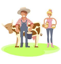 farmers family gardeners cartoon people vector image
