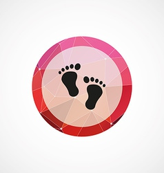 footprints circle pink triangle background icon vector image