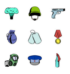 military theme icons set cartoon style vector image vector image