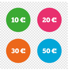 money in euro icons ten twenty fifty eur vector image vector image