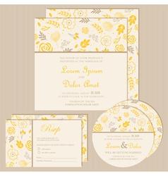 wedding invitation set yellow vector image vector image