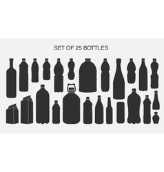 25 isolated shapes of bottles vector image