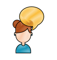 Cute young girl with speech bubble avatar vector