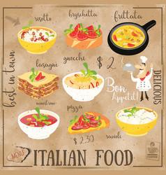 italian food menu vector image