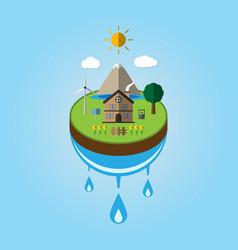 Paper cut art of ecology go green environment vector