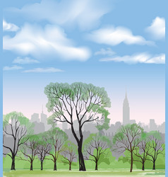 spring trees park over city background landscape vector image vector image