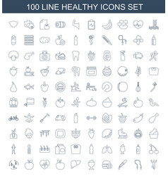 100 healthy icons vector
