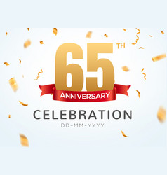 65 anniversary gold numbers with golden confetti vector image