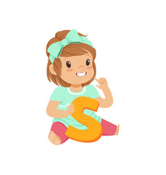 Adorable toddler girl sitting on the floor and vector