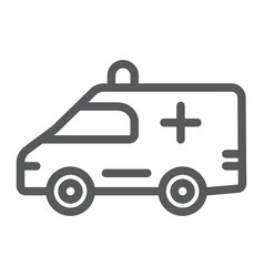 ambulance line icon medical and car emergency vector image