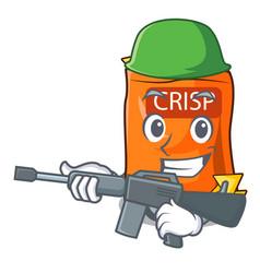 Army snack food sticks chisp on cartoon vector