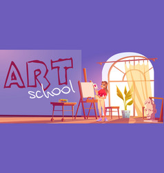 art school cartoon banner artist girl at easel vector image