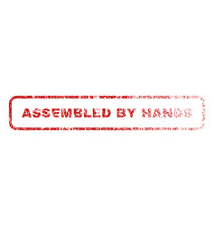 Assembled by hands rubber stamp vector