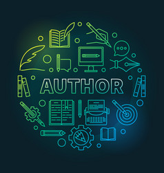 Author round colored linear vector