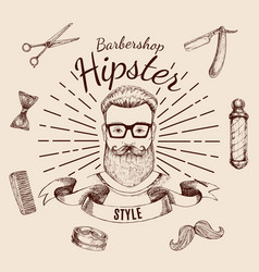 Barbershop hipster style design vector