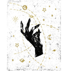 Black witchs hand with cosmos on white textured vector