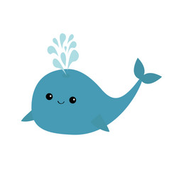 Blue whale and fountain sea ocean life cute vector