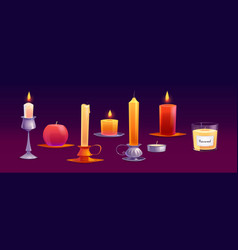 burning wax candles different shapes with fire vector image