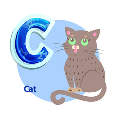 c letter flashcard with cat for alphabet showing vector image