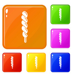 candy stick icons set color vector image