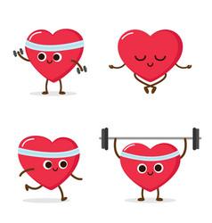 Cartoon heart running weight lifting meditating vector