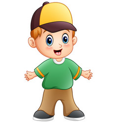Cartoon little boy waving hands vector