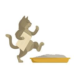 Cat goes in toilet vector image