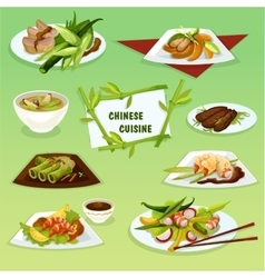 Chinese cuisine icon with seafood and meat dishes vector
