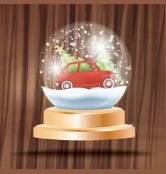 christmas crystal ball with snow and red car vector image