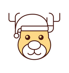 christmas reindeer with hat animal horned funny vector image