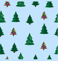 christmas tree seamless pattern winter vector image