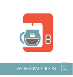 Coffee maker machine outline icon workspace sign vector